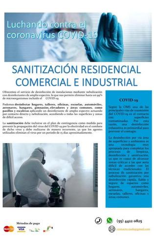 sanitización de tu hogar, oficina o vehiculo