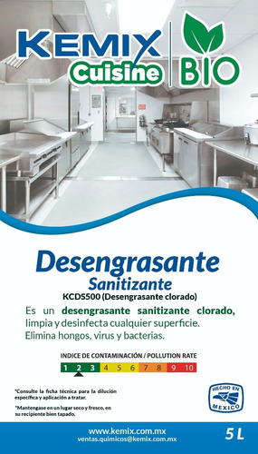 sanitizante desengrasante clorado biodegradable 5l kc