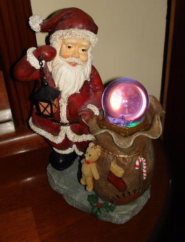 santa claus  navidad fuente de agua y luz cambia de colores