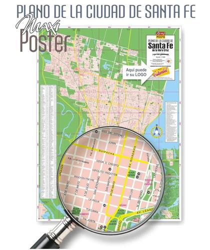 santa fe plano ciudad. poster impreso. sobre madera mdf