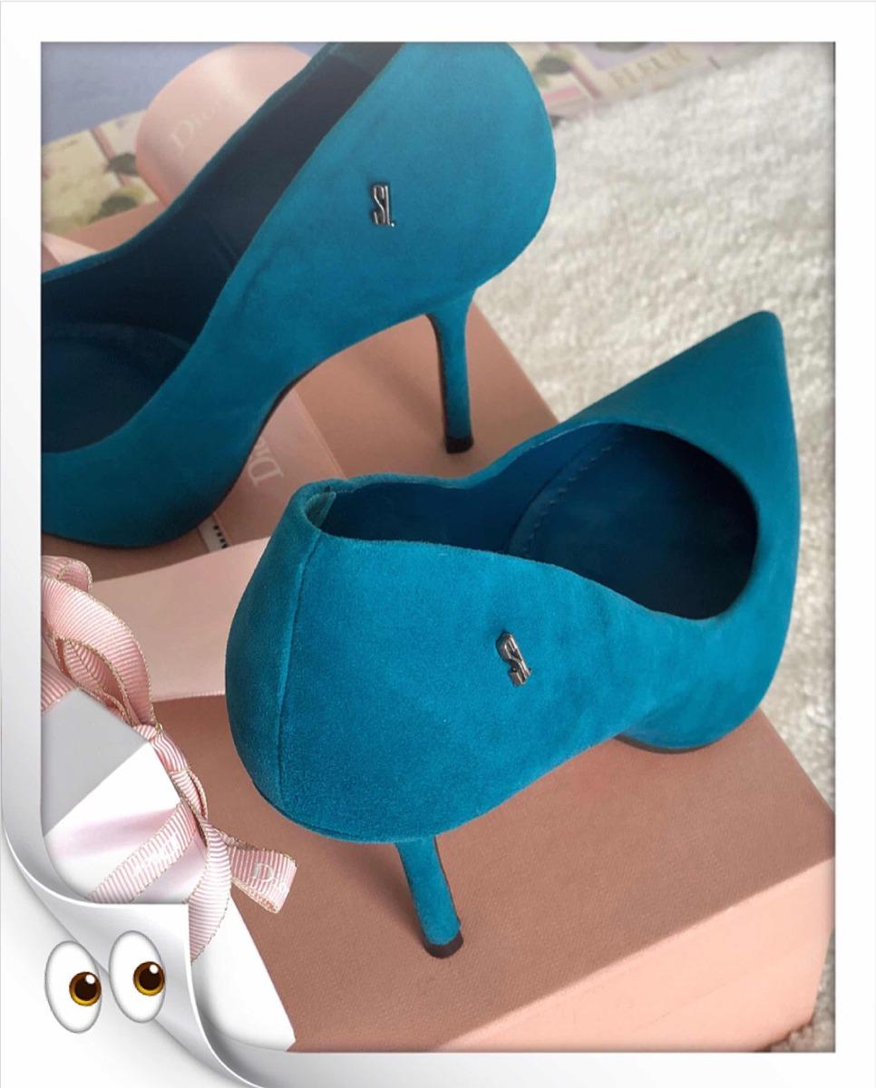 53d13d93d7 Santa Lolla - Scarpin Camurça Azul Petróleo - R  188