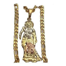 Santa Muerte Chapa Oro 3 Colores Cadena Acero Preparada