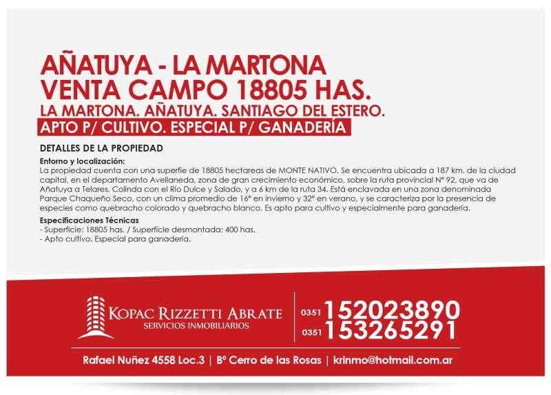 santiago del estero - venta campo 18805 has.