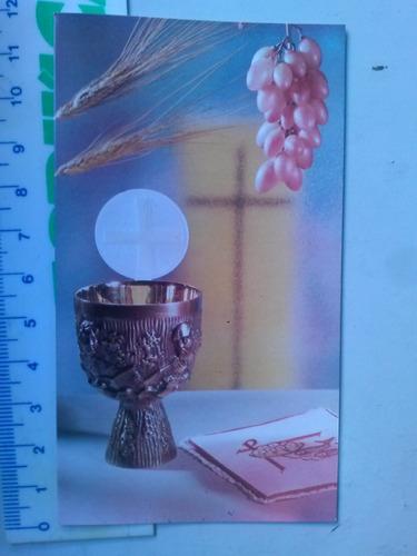 santinho de 1974 1ª comunhão adriana cálice hóstia trigo uva