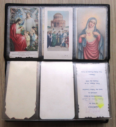 santinhos antigos religiosos católicos com caderneta - 30 un