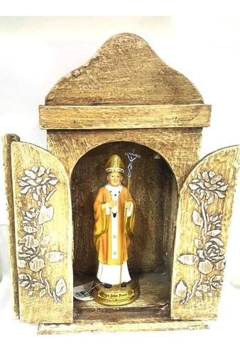 santo papa joão paulo ii com oratorio capela madeira
