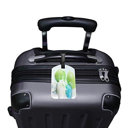 Saobao Travel Luggage Tag Easter Eggs PU Leather Baggage Suitcase Travel ID Bag Tag 1Pcs
