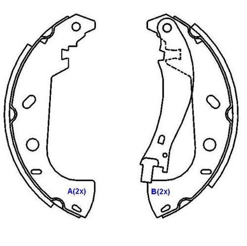 sapata freio traseira tipo 1993 a 1997 203002