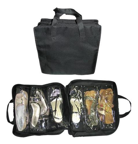 sapateira que vira bolsa portatil e dobravel de viagem organ