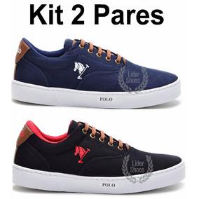 dd87e5f54 Kit 2 Pares - Tenis Masculino Sapato Sapatenis Polo Joy