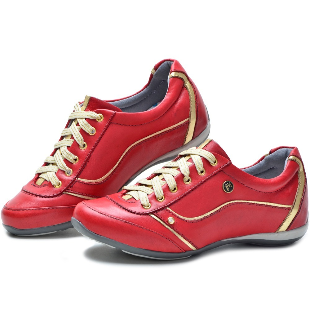 cfaa0abb3 sapatenis tênis feminino ortopédico em couro vermelho 212/03. Carregando  zoom.