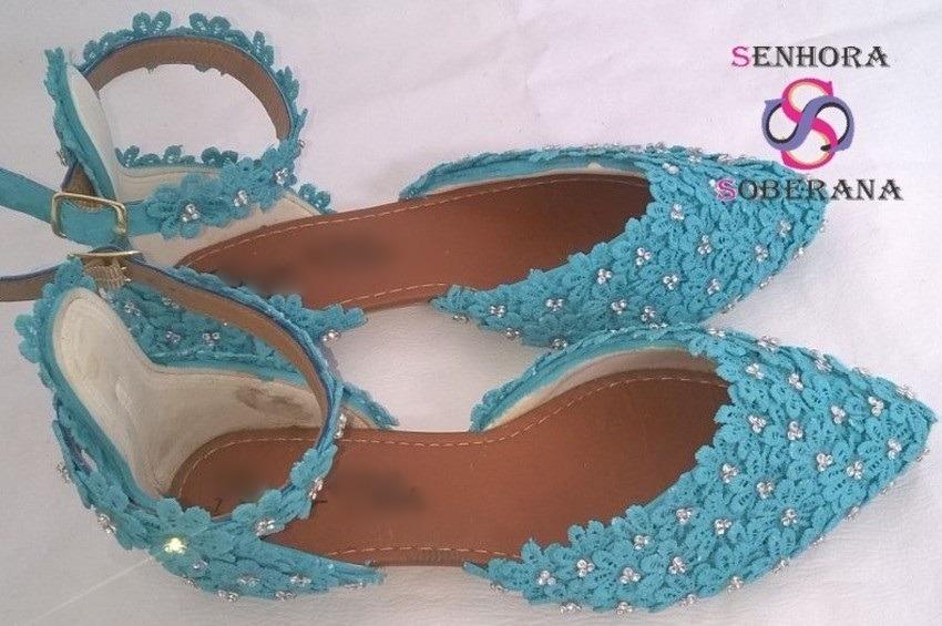 ba1a2d247ba Sapatilha Azul Tifany Florada Brilho (madrinhas)(noivas) - R  189