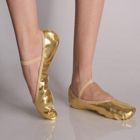 7e945b6cb0 Sapatilha Ballet Balé Meia Ponta Corino Dourada Prateada