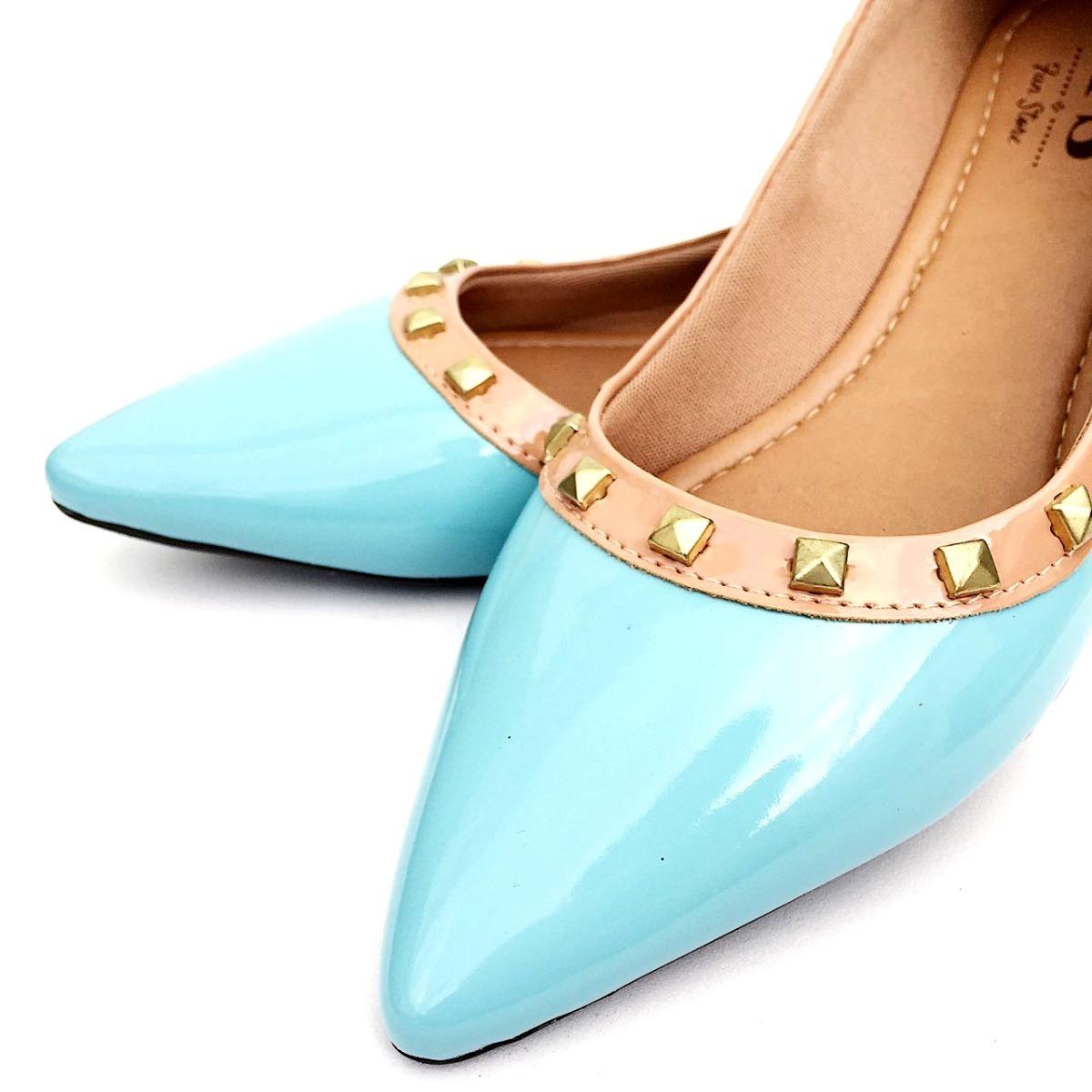 d825b11de0b sapatilha bico fino azul tiffany verniz spikes promoção. Carregando zoom.