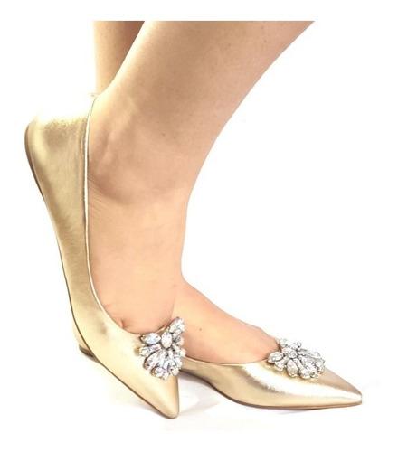 sapatilha bico fino com pedras couro luxo pedraria 33 até 38
