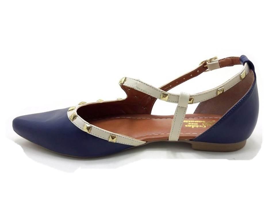 c1c81978183 sapatilha bico fino com spikes - azul e creme (dfv11-01). Carregando zoom.