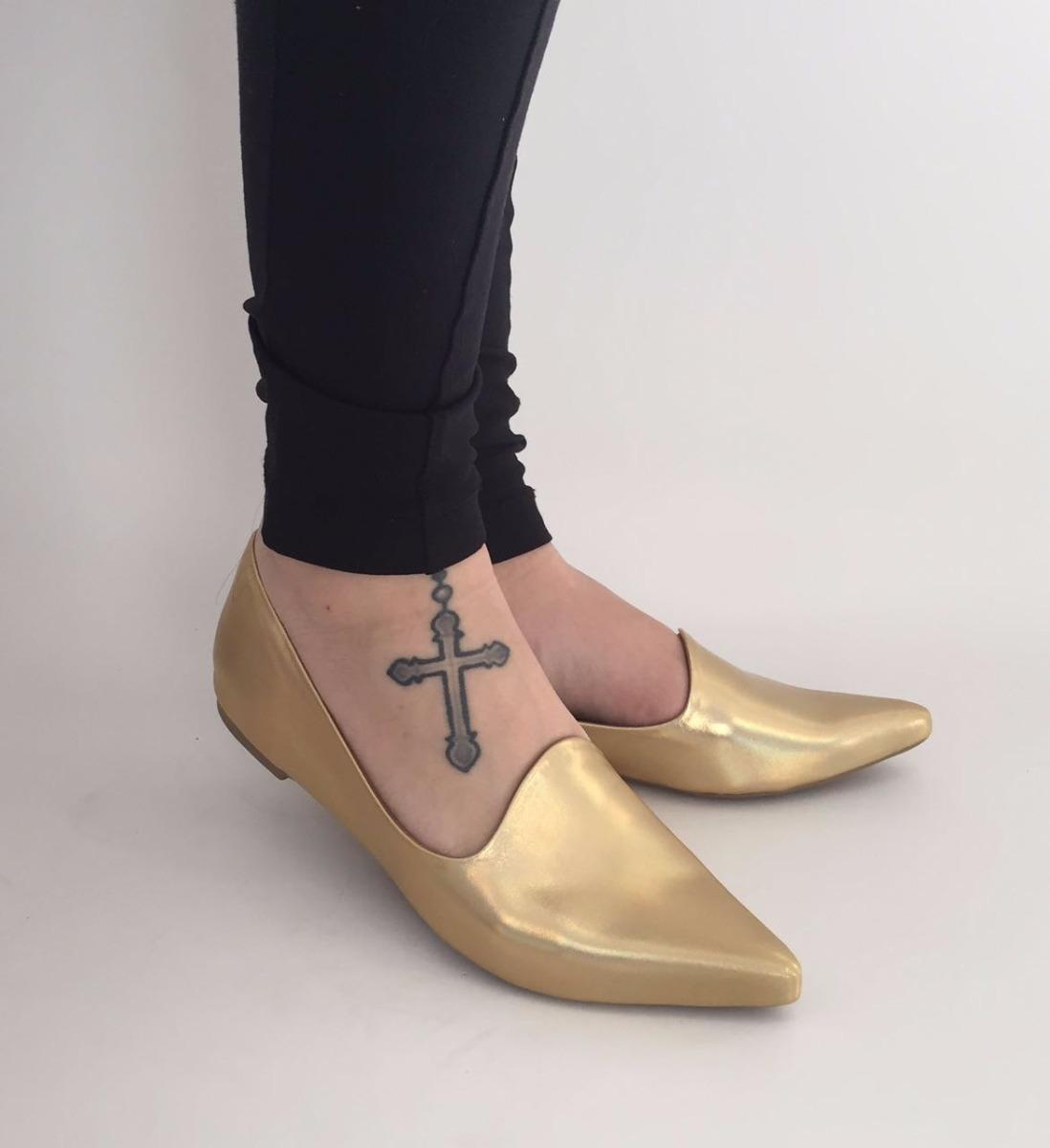 db1e13c050 sapatilha bico fino dourado metalizado. Carregando zoom.