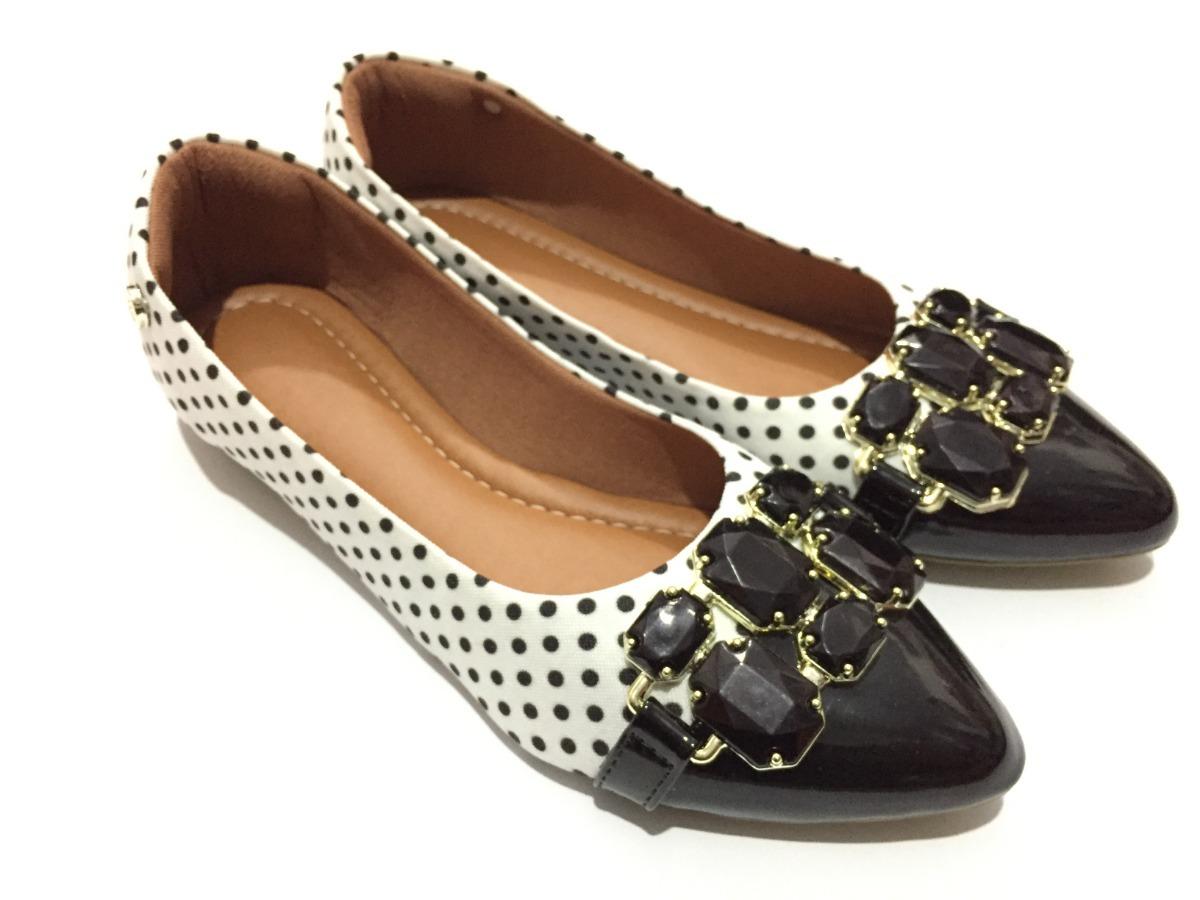 19d835f352 Sapatilha Bico Fino Enfeites Confort Luxo Calçados Femininos - R$ 75 ...