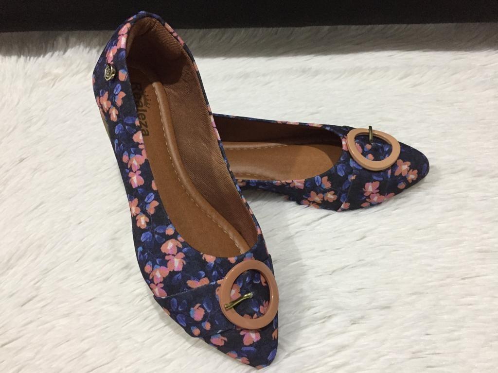 c1db1eb1e9 sapatilha bico fino floral enfeite confort calçados feminino. Carregando  zoom.