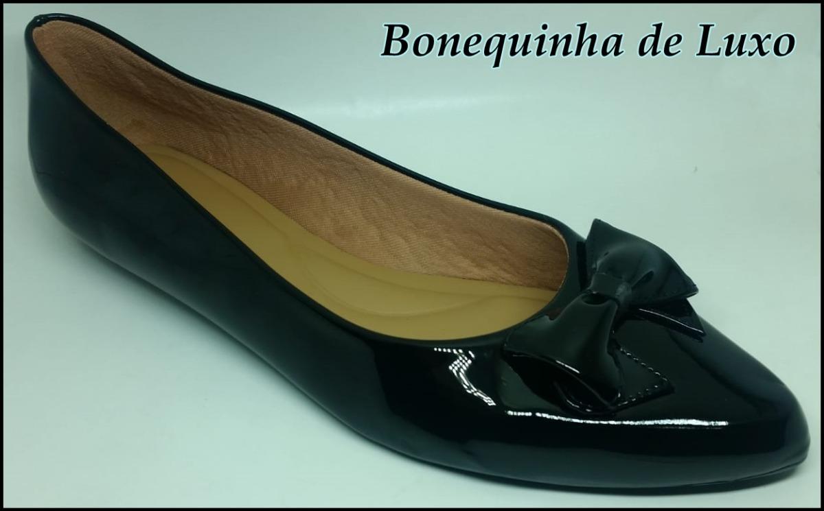 b966da49b Sapatilha Bico Fino Preta Verniz Numeração Especial - R$ 121,99 em ...