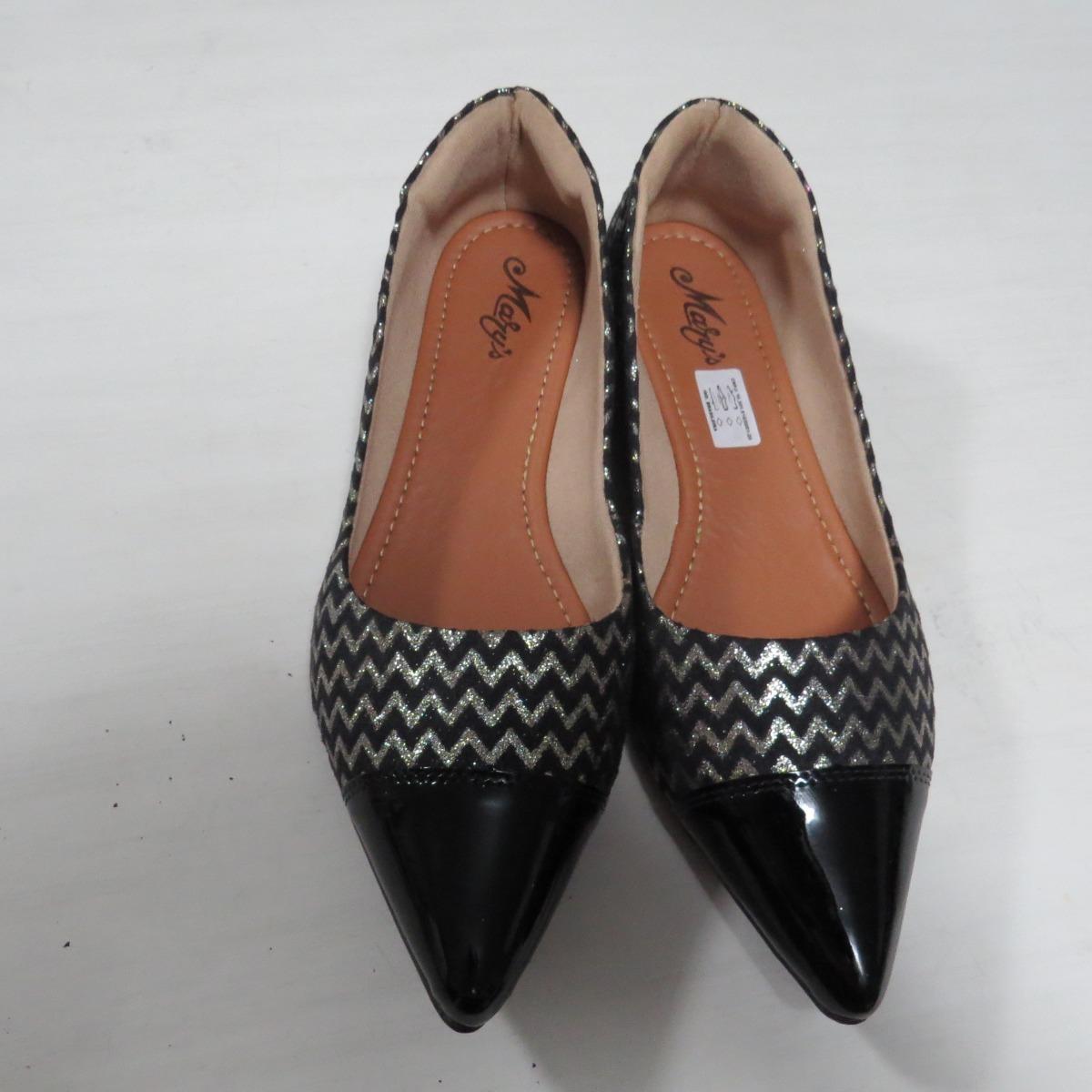 2eb1c38d3 sapatilha bico fino preto feminino com detalhe em dourado. Carregando zoom.