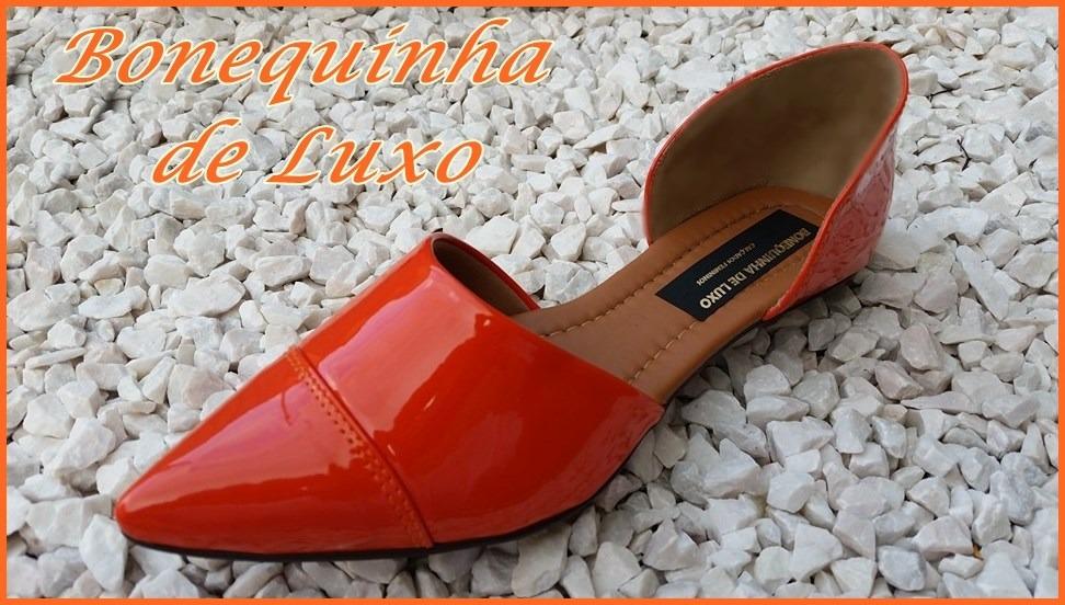 b27f4a24de sapatilha bico fino verniz cor laranja frete grátis brasil. Carregando zoom.