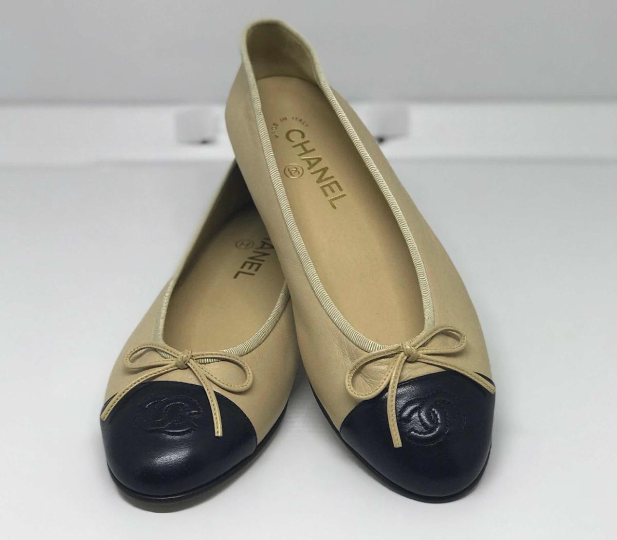 838c3e2d6 Sapatilha Chanel Preto Com Bege Couro Original - R$ 999,57 em ...