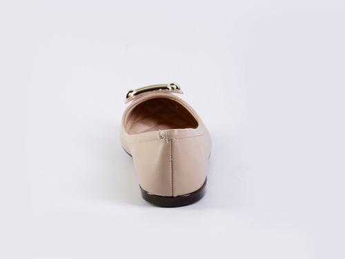 sapatilha feminina bico fino com fivela bege moleca
