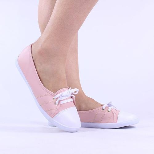 sapatilha feminina bico redondo rosa com cardaço