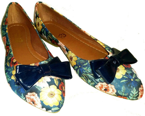 4651a7c08 Sapatilha Feminina Em Tecido Floral Estampado - R$ 29,90 em Mercado ...