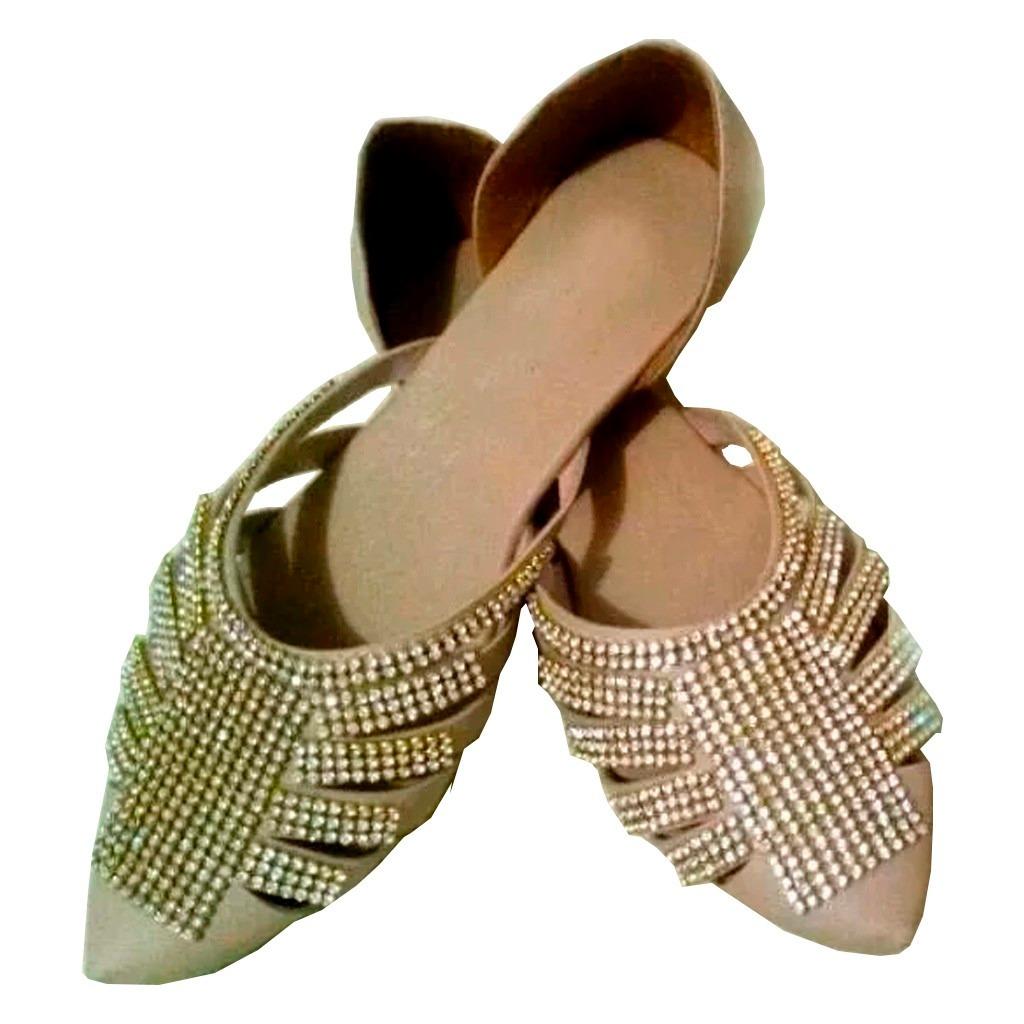 af43b12b4c sapatilha feminina estilo scarpin strass sapato sem salto. Carregando zoom.