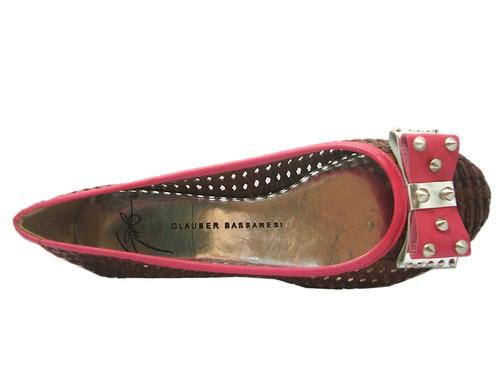 sapatilha feminina glauber 4535 laço com spikes marrom/pink