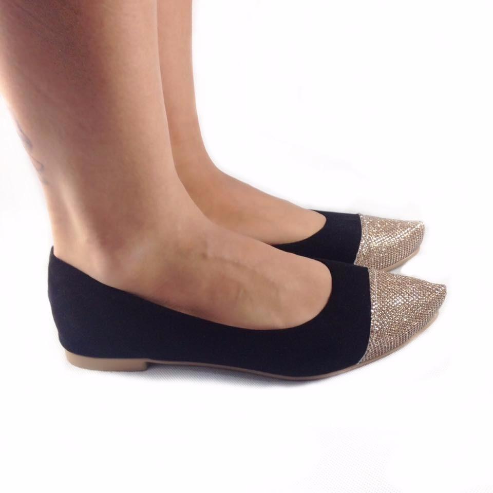 d0be777670 sapatilha feminina sapato preta bico fino dourado brilho. Carregando zoom.
