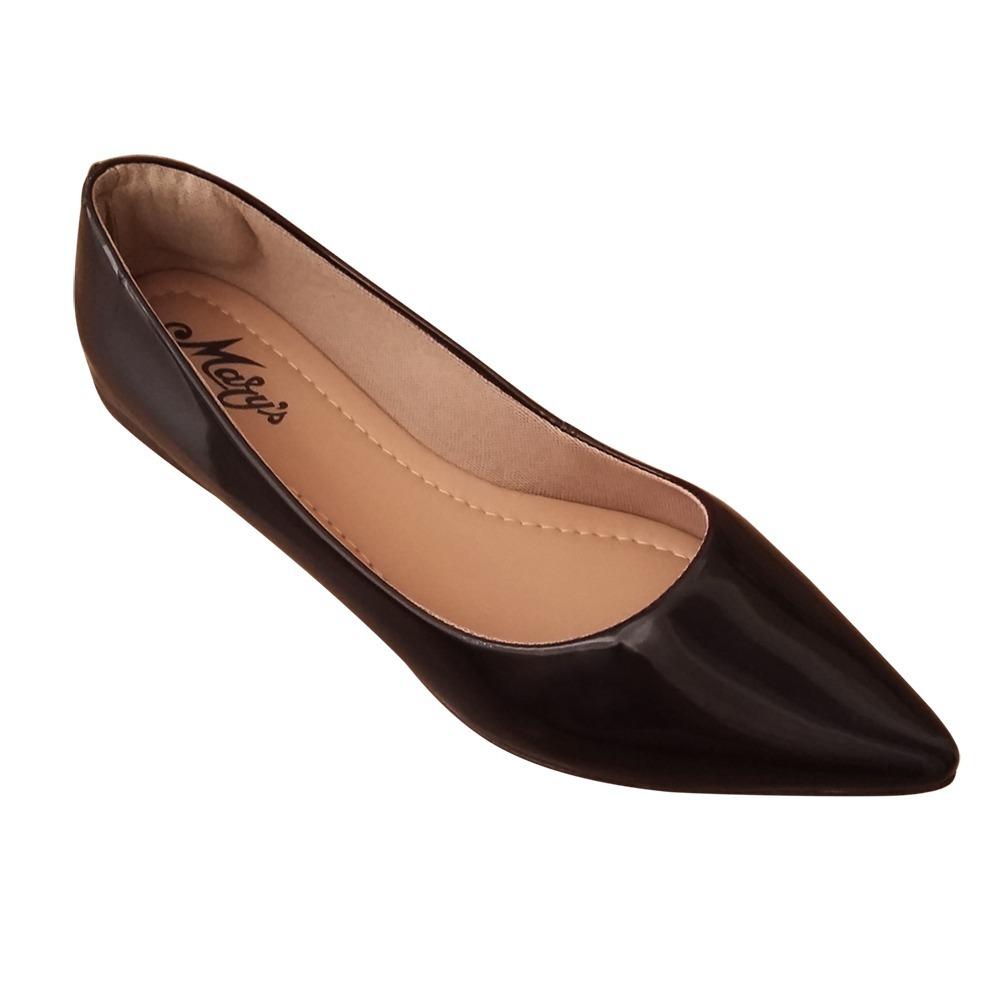 09a88f661 sapatilha feminina social preta verniz bico fino. Carregando zoom.
