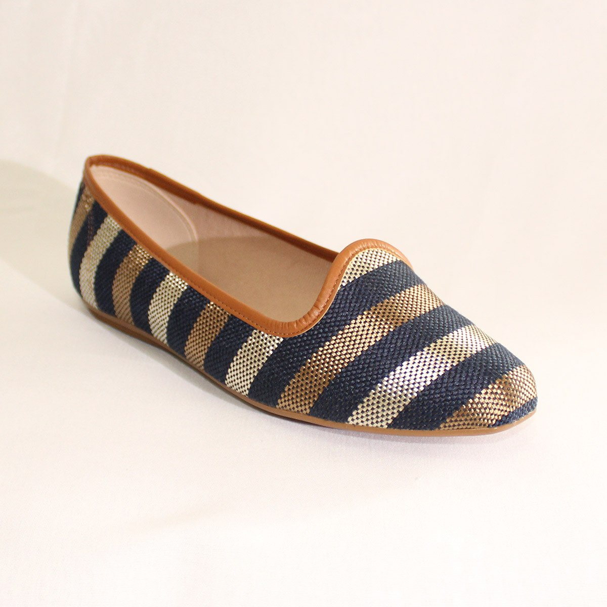 52a6ac56f53 sapatilha listrada azul prata bronze - beira rio conforto. Carregando zoom.