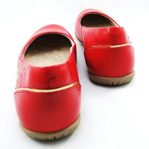 sapatilha malu super comfort couro vermelho desirre 32058-28