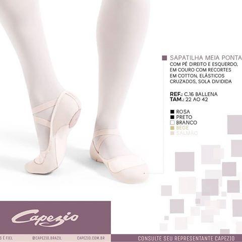 be9ec55017 Sapatilha Meia Ponta Capezio Ballena Couro E Cotton C.16 - R$ 79,00 ...