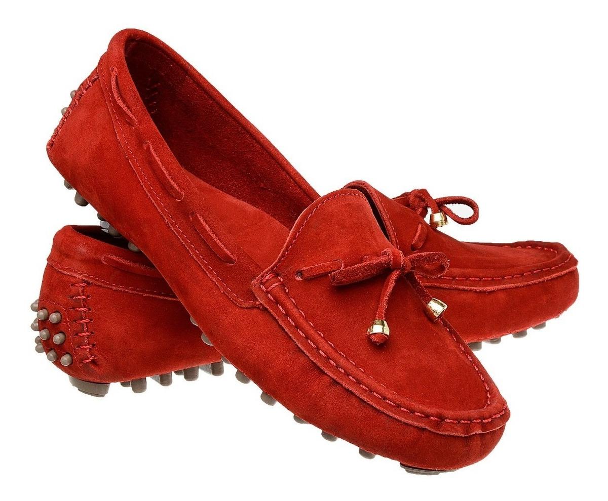 84d8c3595 sapatilha mocassim feminino drive couro vermelho oferta. Carregando zoom.