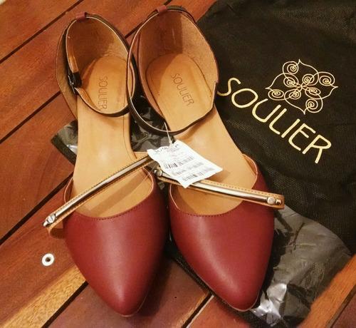 sapatilha soulier couro vermelha tam 36 com tag