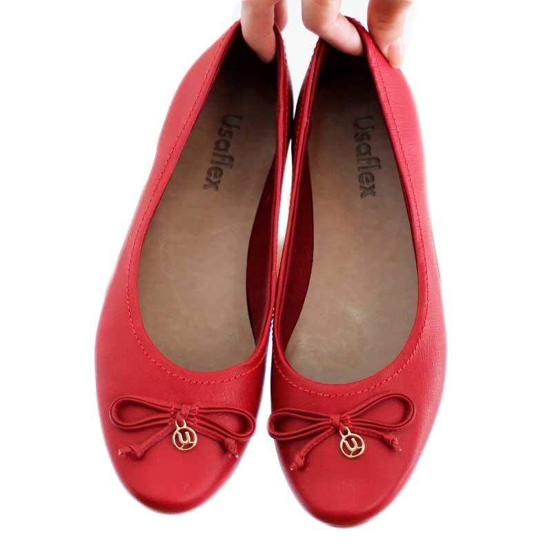 dcfa6b0cd3 sapatilha vermelha usaflex bico redondo couro 7506 promoção! Carregando  zoom.