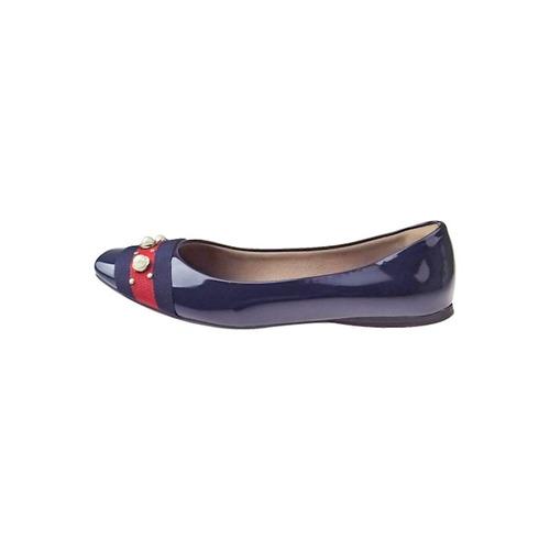 c02dd18215 Sapatilha Verniz Com Tira E Pérola - Azul - R  59