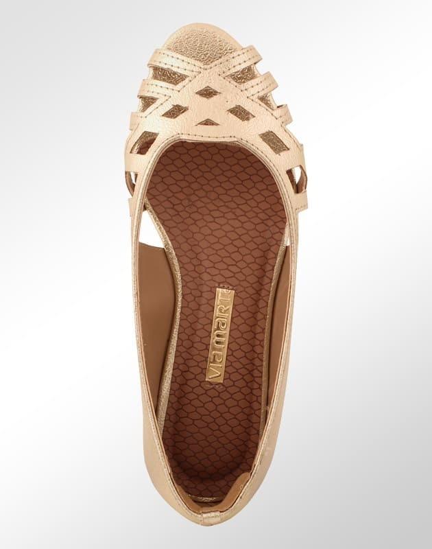 457663544e sapatilha via marte peep toe dourada feminina. Carregando zoom.
