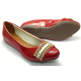 177734e01e Sapatilha Dourada Bico Fino - Sapatilhas para Feminino Vermelho no ...