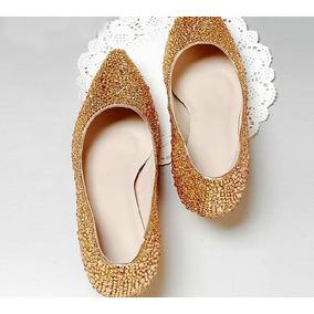 01da31fcf5 Sapato Dorado De Debutante Pedraria Sapatilhas - Sapatos no Mercado ...