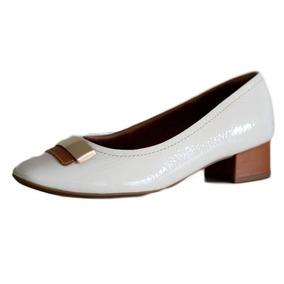 5dca3c8643 Sapato Usaflex Salto Grosso Claro Confortável 2702