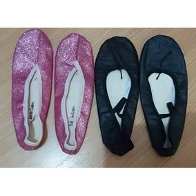 028e799ee1 2 Sapatilhas Meia Ponta Glitter Rosa Preta Courino Ballet