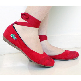 1b61f2fd7bfe7 Sapatilha Feminina Bailarina Lascoste Em Camurça Vermelho