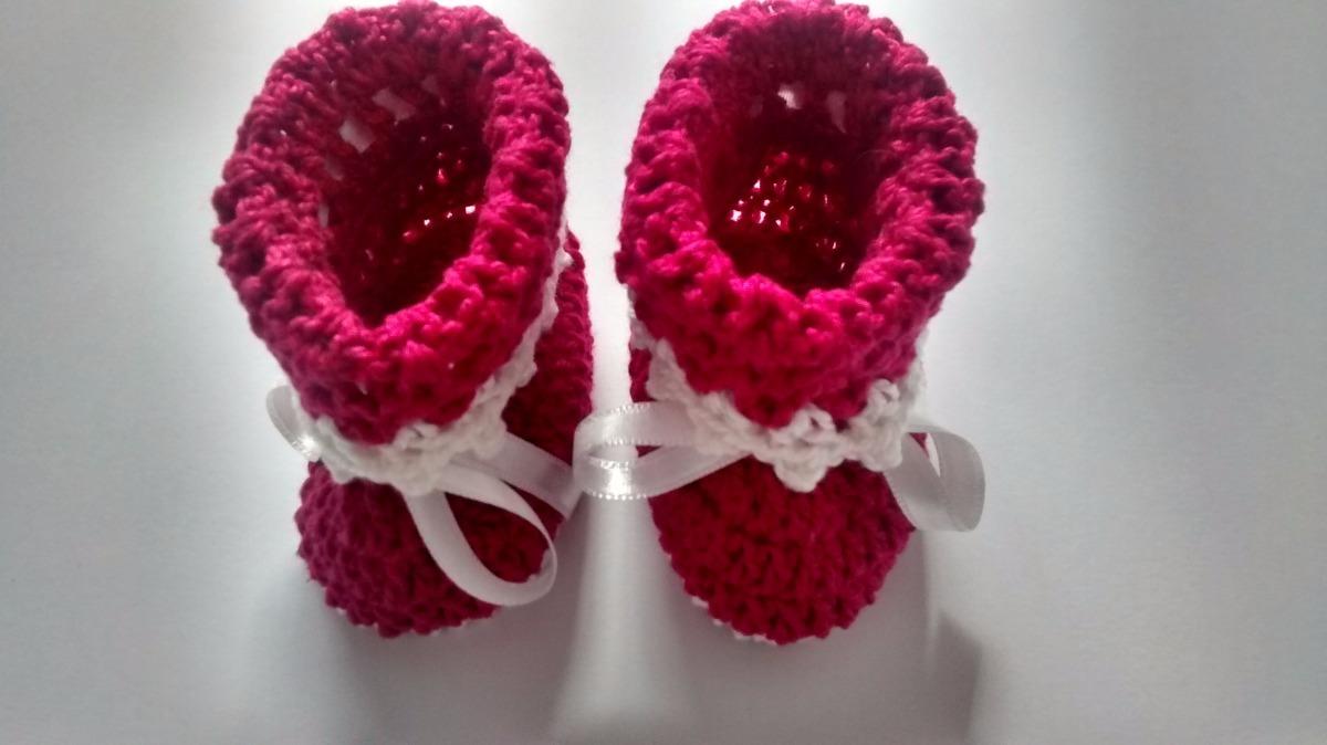 sapatinho botinha crochê linha bebê pink branco. Carregando zoom. 02f8fc0fa27