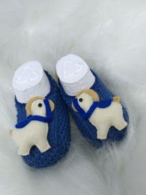 eb90f5750 Sapatinho De Croche Azul - Calçados, Roupas e Bolsas Azul-marinho ...
