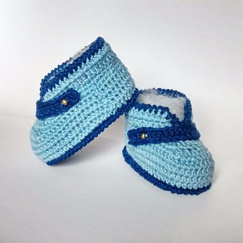 sapatinho de crochê para bebê - cor azul